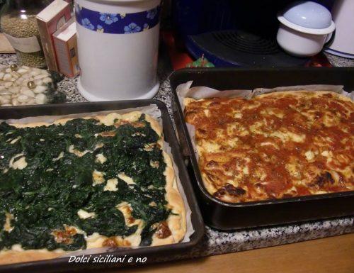Pizza con spinaci e pizza margherita